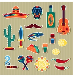 collection mexican stickers in native style vector image