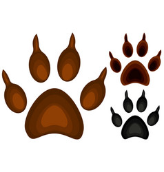 colorful cartoon dog paw footprint icon set poster vector image