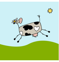 cow grazing in meadow sketch for your design vector image