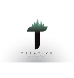 Creative t letter logo idea with pine forest vector