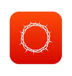 crown of thorns icon digital red vector image