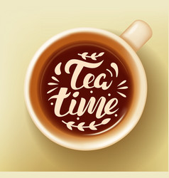 cup of tea with text vector image