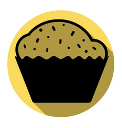 cupcake sign flat black icon with flat vector image