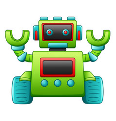 Cute cartoon robot character isolated on white bac vector