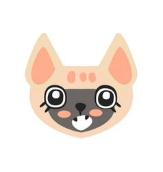 cute kitten head funny cartoon cat character vector image