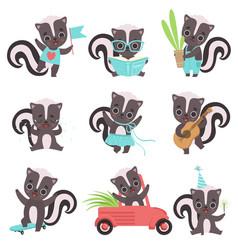Cute little skunks set adorable baanimals vector