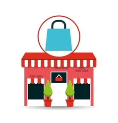 cute store shopping bag gift vector image