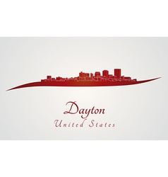 Dayton skyline in red vector image