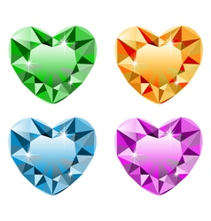 Diamond heart set vector