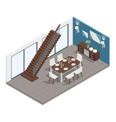 Dining room isometric concept vector