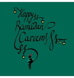 Doodle calligraphy text Happy Ramadan Kareem and a vector image