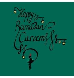 Doodle calligraphy text Happy Ramadan Kareem and a vector
