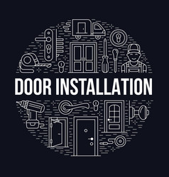 Doors installation repair banner vector