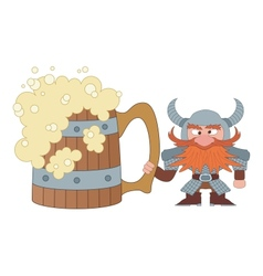 Dwarf with great beer mug vector image