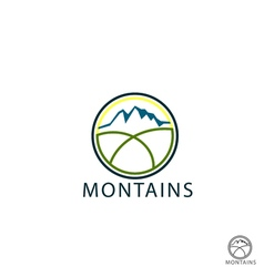 Flat mountain logo of travel icons vector