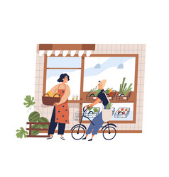 friendly woman greengrocer and buyer at grocery vector image