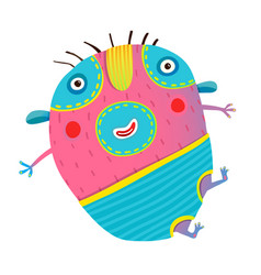 funny kids monster jumping creature vector image