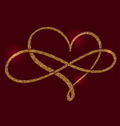 Golden calligraphic heart and a sign of infinity vector