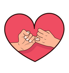 hand pinky promise with heart shape vector image