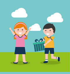 happy boy and girl with gift vector image