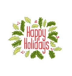 Happy Holidays vintage greeting card vector image