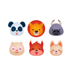 Heads of cute animals set bear face of panda vector