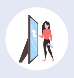 Housewife using dust cloth and spray plastic vector