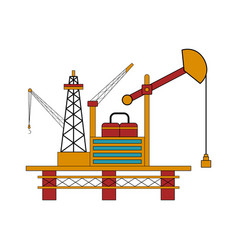 isolated colored oil platform vector image