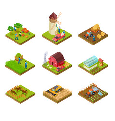 isometric farm farmer tractor lorry and harvester vector image