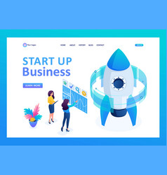 isometric start up of a business project vector image