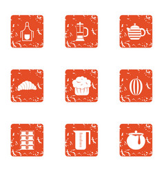 Lactic icons set grunge style vector