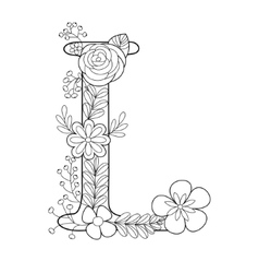 letter n coloring book for adults royalty free vector image