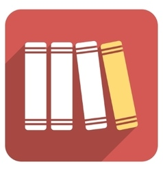 Library Books Flat Rounded Square Icon with Long vector