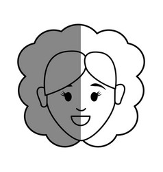 Line happy face woman with hairstyle vector