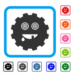 Maniac smiley gear framed icon vector