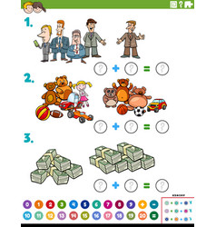Maths addition educational task with objects and vector