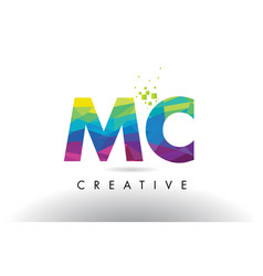 Mc m c colorful letter origami triangles design vector