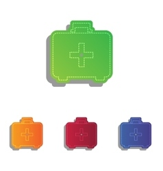 Medical First aid box sign Colorfull applique vector image
