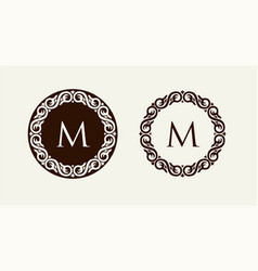Monogram in baroque style floral ornament can vector