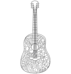 Musical instrument guitar Coloring book for vector image