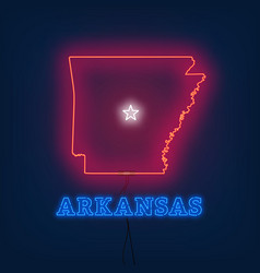 Neon map state of arkansas on dark background vector