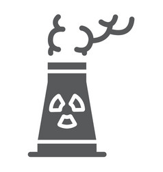 Nuclear power station glyph icon ecology vector