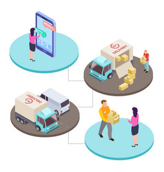 online shopping and delivery service isometric vector image