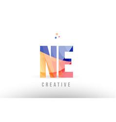 Orange blue alphabet letter ne n e logo icon vector