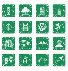 Paintball icons set grunge vector