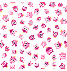 Pattern with funny pink owls on white background vector