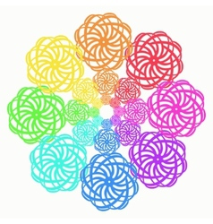 Rainbow line flower circular pattern on white vector image