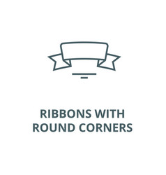 ribbons with round corners line icon vector image