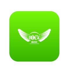rock music icon green vector image
