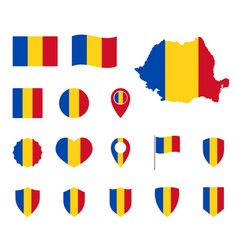 romania flag icons set symbols flag of vector image